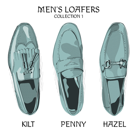 Men`s loafers kilt penny and hazel model.