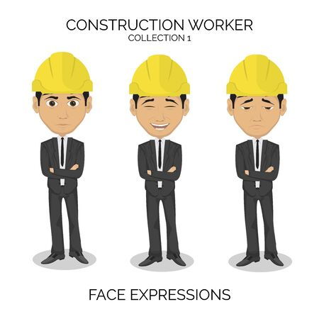 Construction worker male character with different face expressions Illustration
