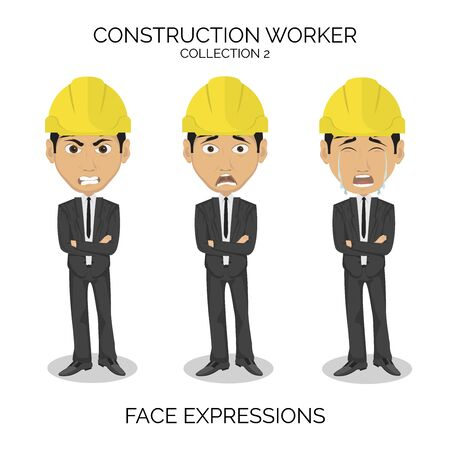 Construction worker male character at work with different face expressions.
