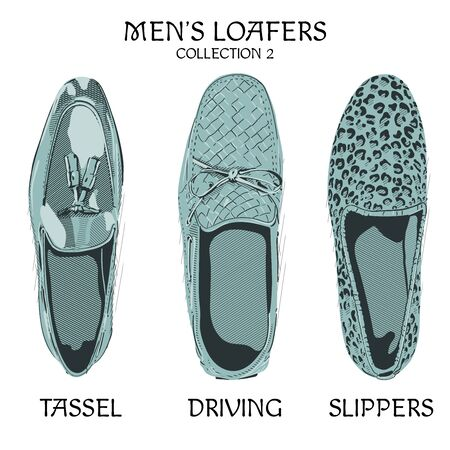 Men`s loafers tassel driving and slippers model.