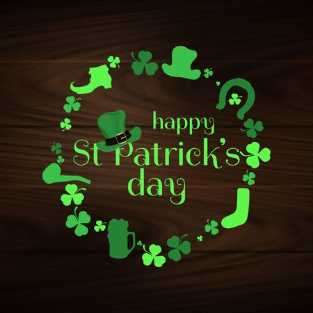 A beautiful vector st partick's day background on wooden wall. st patrick's day elements
