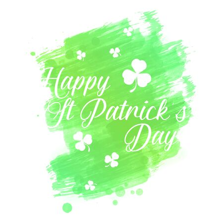 A beautiful st patrick's day watercolor background. leaf, shamrock element with beautiful typography