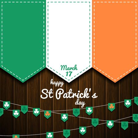 A irish flag on wooden wall. st patricks day vector background. celtic celebration
