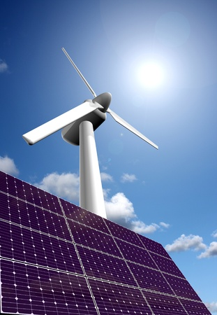 wind mills: Solar and wind energy Stock Photo
