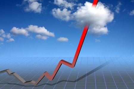 Trend curve pointing to skyhigh success Stock Photo