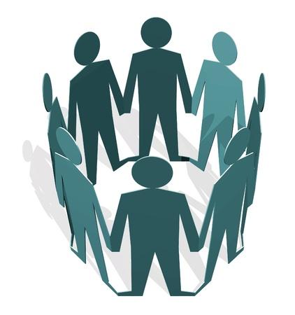 figuras humanas: Figuras humanas sosteniendo las manos en un c�rculo