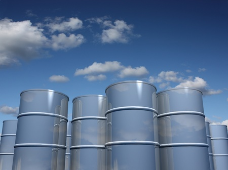 Steel barrels with sky background Stock Photo - 11528722