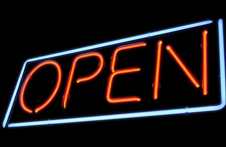 Open neon light sign