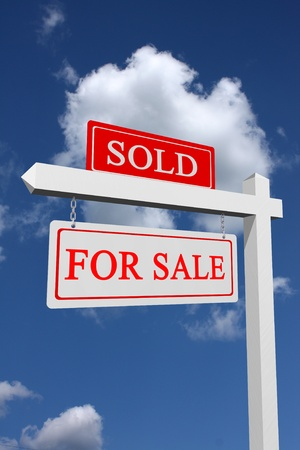 Real estate type for sale and sold sign with sky background photo
