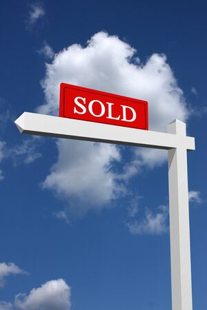Real estate type sold sign with sky background  Stock Photo