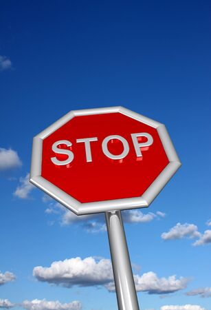 3D stop sign with sky background Stock Photo - 11528232