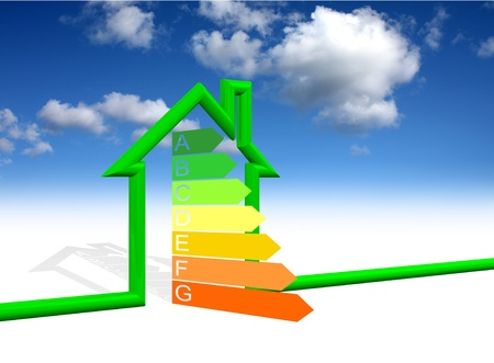 efficient: House energy efficiency class Stock Photo