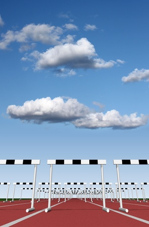 Hurdles track with sky background  photo