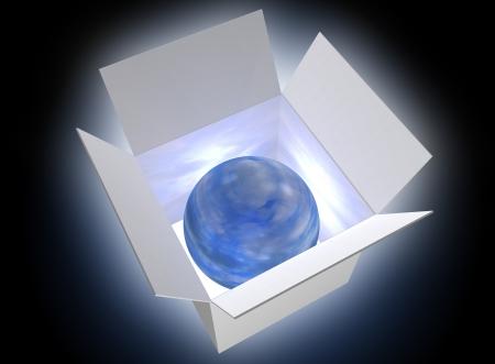 earthlike: Earth-like blue ball glowing in a box