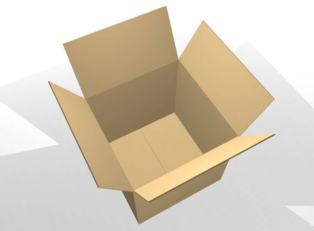 Open brown cardboard box  photo