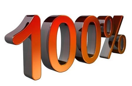 Metallic 3D 100% text Stock Photo - 11528727