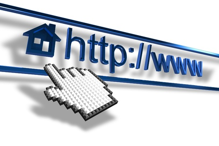 Internet homepage address with mouse pointer photo