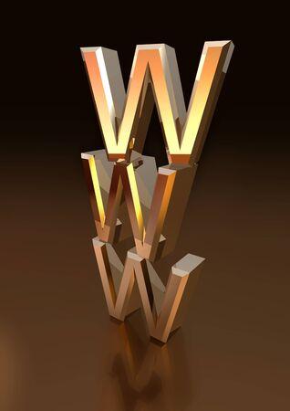 Pile of metallic WWW letters  Stock Photo