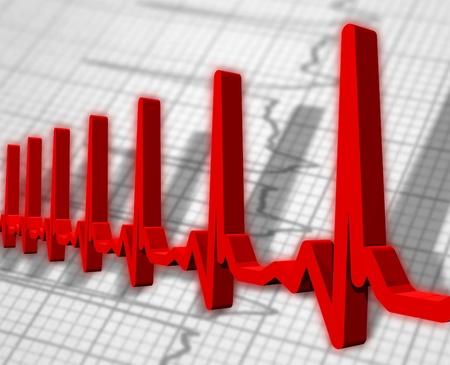 Ekgecg pulse diagram Stock Photo