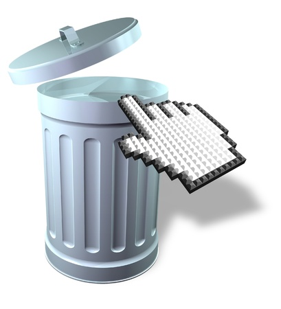 Mouse pointer with 3D trash can Stock Photo - 11696959