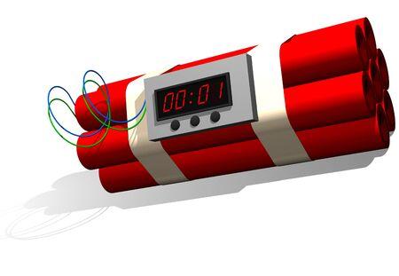 Dynamite stick time bomb isolated on white Stock Photo - 11696960