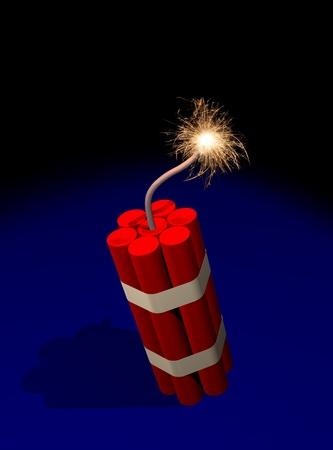 Dynamite fuse burning Stock Photo - 11696983