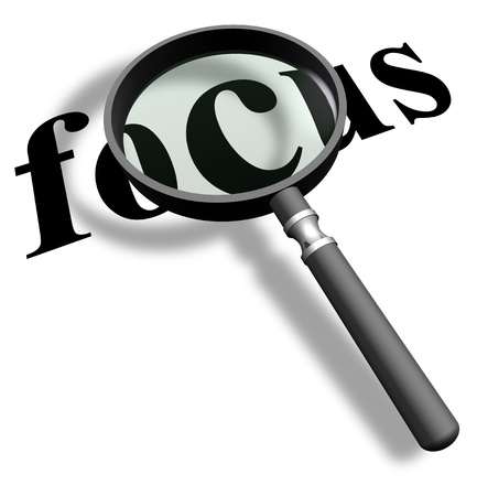 Magnifying glass with word focus