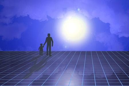 psicologia infantil: Escena futurista de padre e hijo