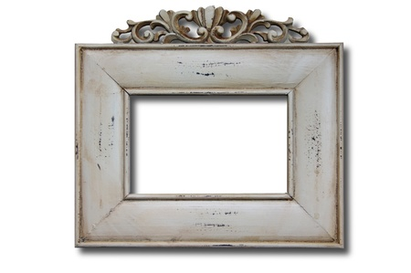 picture framing: White wooden photo frame