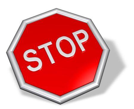 Metallic 3D stop sign  Stock Photo - 11696948