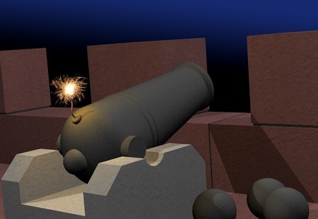 Old cannon with burning fuse in fortress, dark background