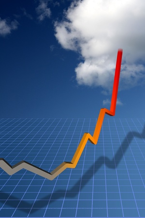 Trend curve pointing to sky-hihg success  Stock Photo