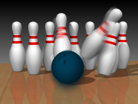 Bowling ball crashing into pins  photo