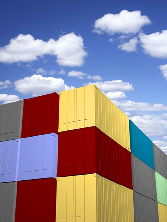 dockyard: Stacked cargo containers with sky background  Stock Photo