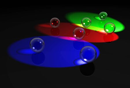 Glass balls in RGB lights  Stock Photo - 11697006