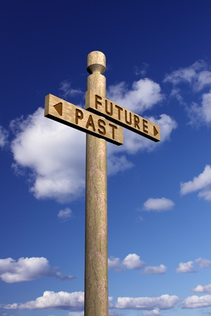ides: Wooden signpost for future and past  Stock Photo