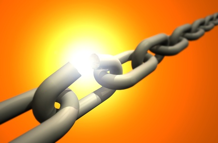 Weakest link of the chain breaks up  Stock Photo