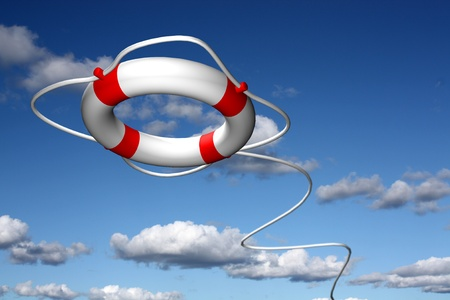 preserver: Lifebuoy ring flying to help  Stock Photo
