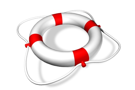 Life preserver ring - symbol for help - isolated on white  Stock Photo