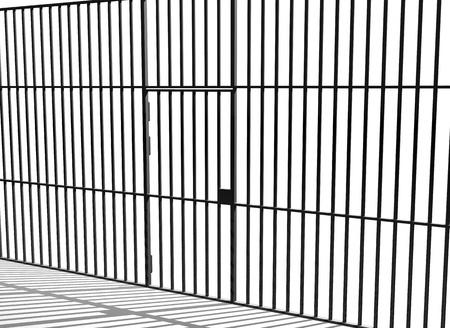 shackled: Barrotes de la prisi�n y la puerta de la celda