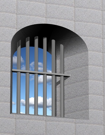 Jail window with bars