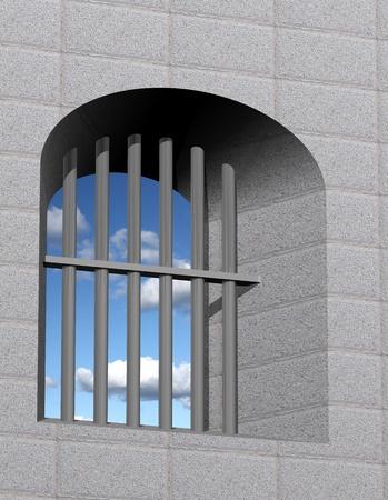 jailhouse: Jail window with bars