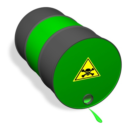 hazardous: Overturned can of poisonous liquid  Stock Photo