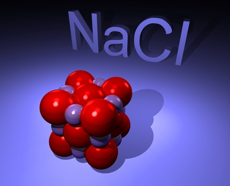 Illustration of NaCl molecule i.e. salt  Stock Photo