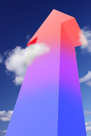 overheating: Colorful arrow pointing to the sky Stock Photo
