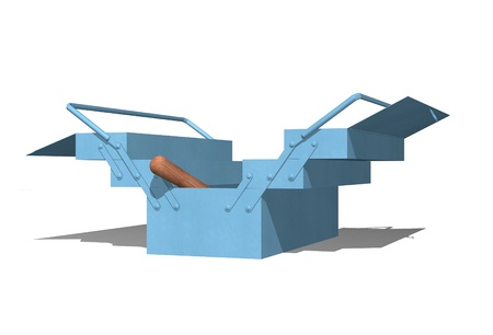 Blue metallic toolbox open