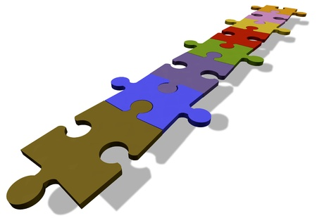 Jigsaw puzzle pieces in a row photo