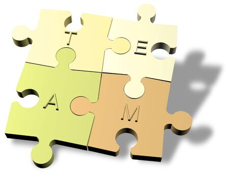 Jigsaw puzzle pieces forming a team  photo