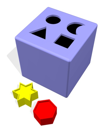difficult mission: Blocks and holes toy  Stock Photo