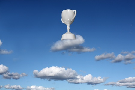 Trophy cup on a cloud